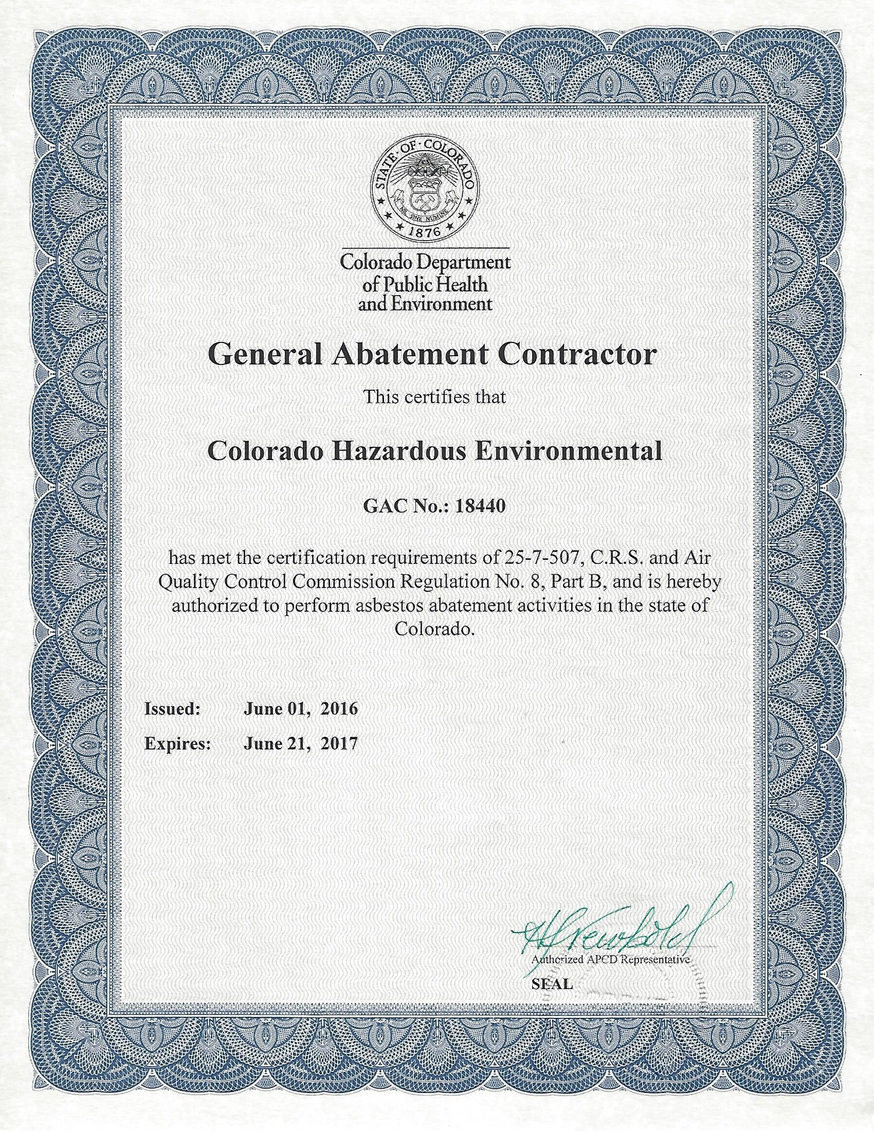 Colorado Department Of Public Health Environment Certification