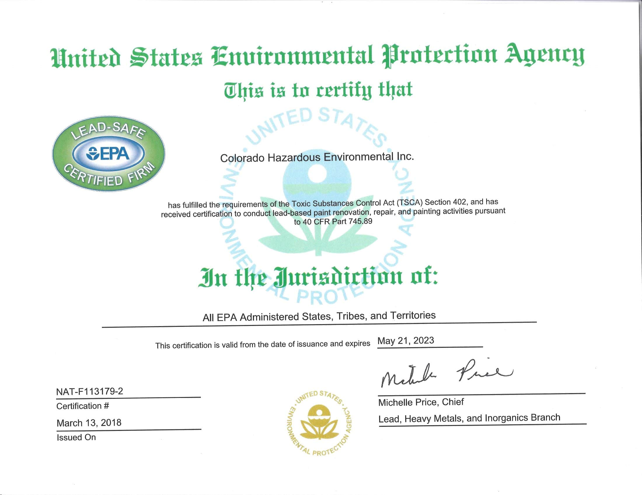 Certifications Colorado Hazardous Environmental