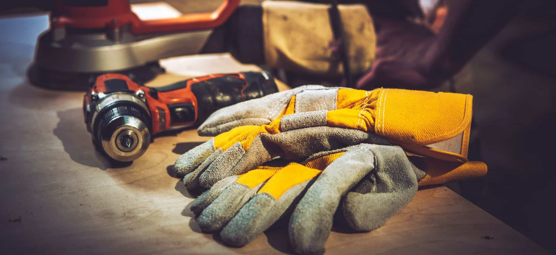 Construction tools and safety gloves