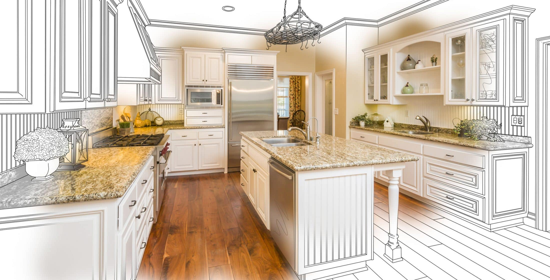 Beautiful Custom Kitchen Design Drawing and Gradated Photo Combination