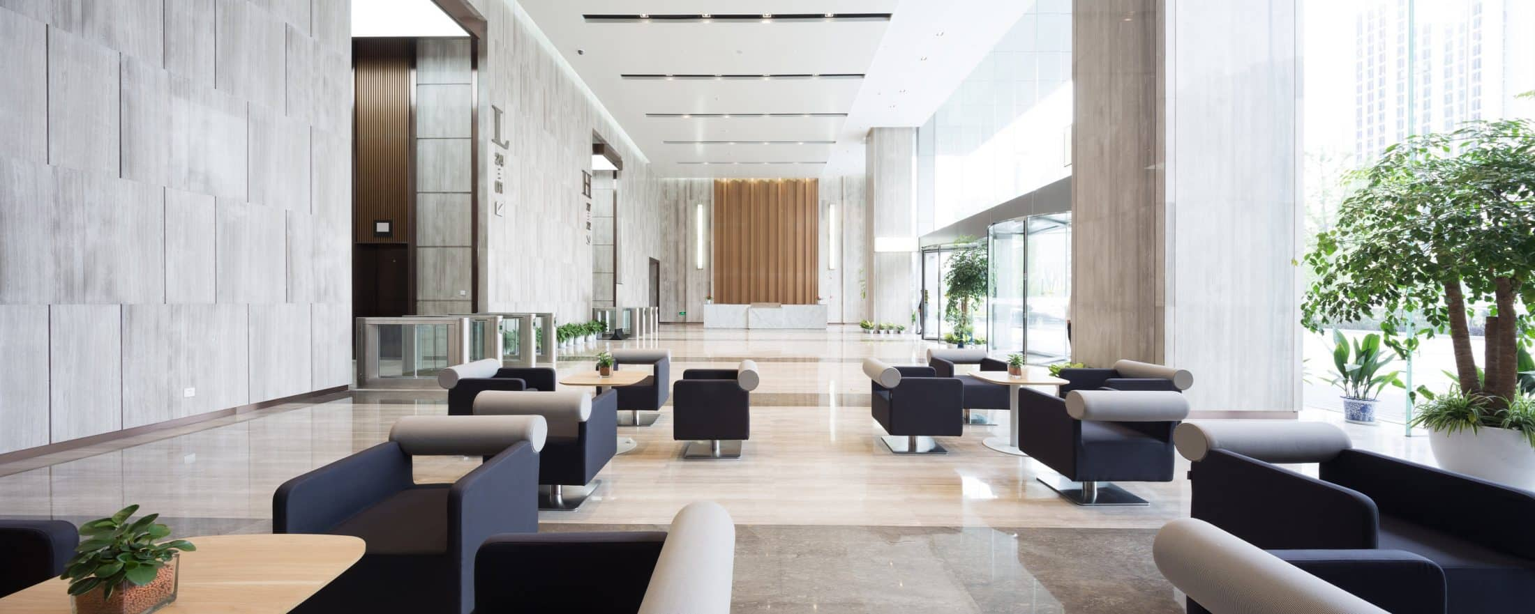 interior of entrance hall in an office building